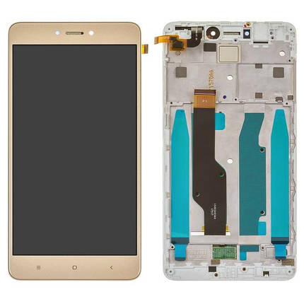 Дисплей (экран) для Xiaomi Redmi Note 4X з сенсором (тачскріном) и рамкой золотистый, фото 2