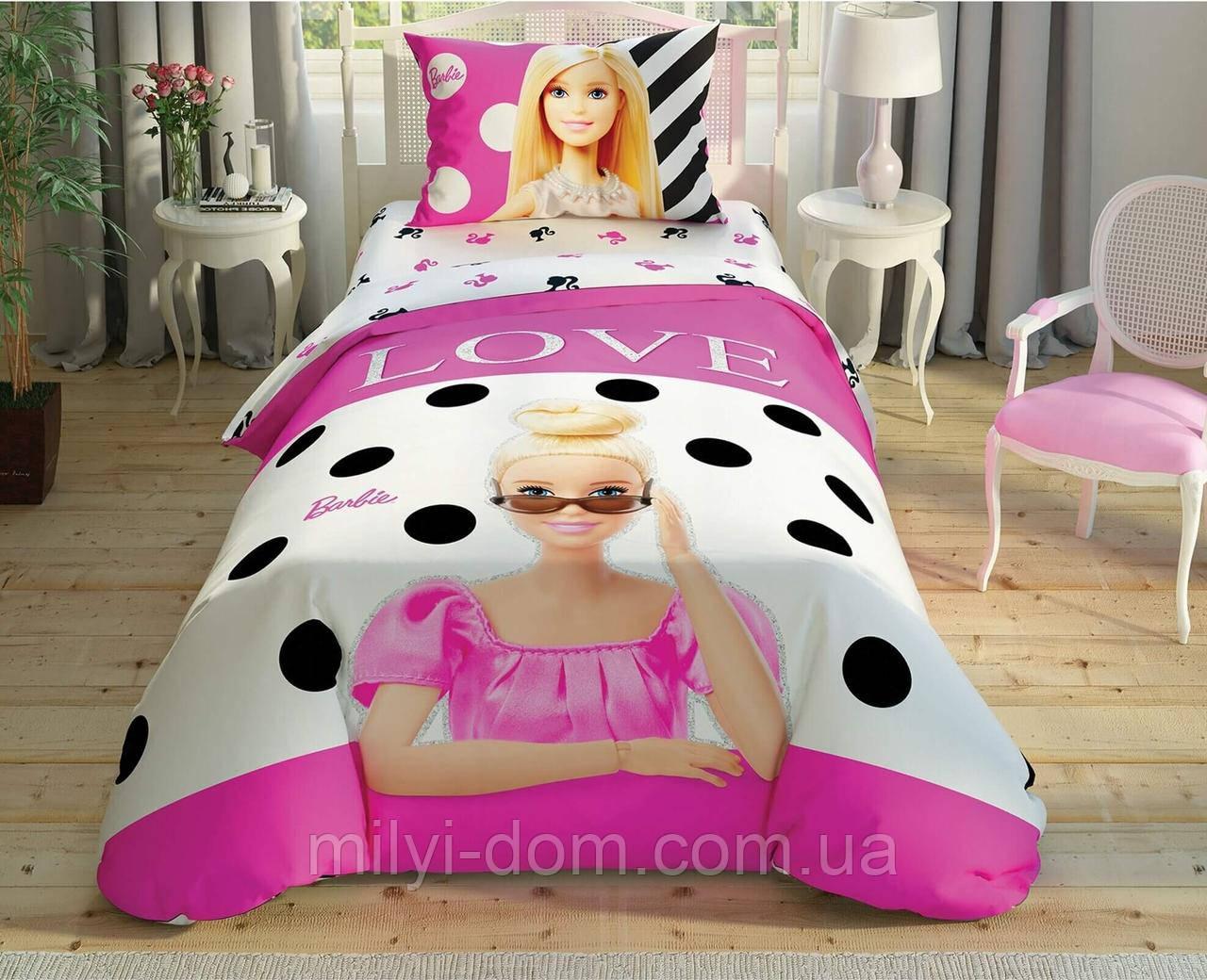 """Набор детского постельного белья TAC Barbie Glitter """"Барби блестки"""", простынь на резинке"""