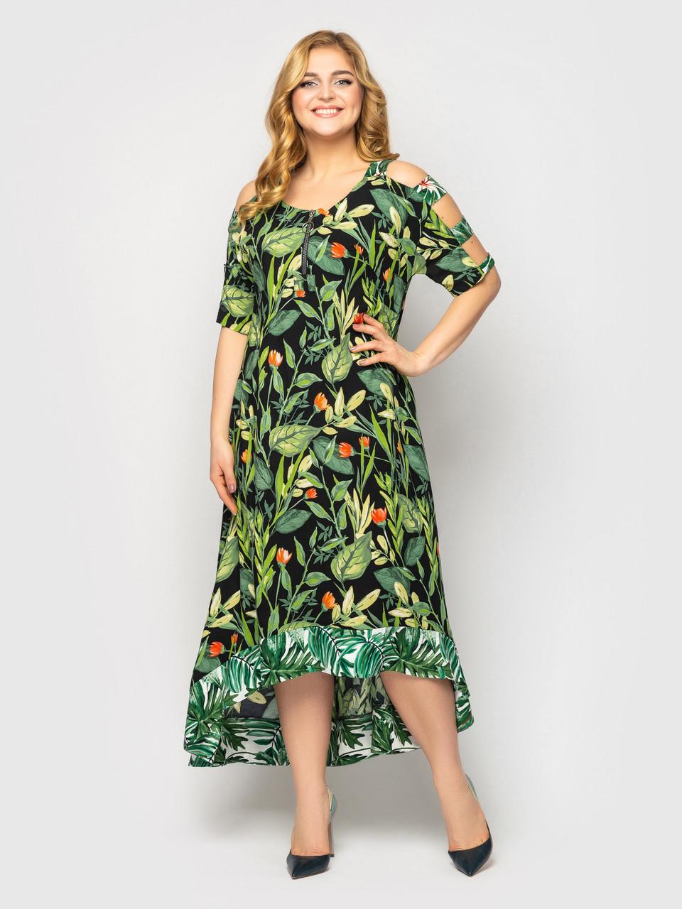 Сукня для повних дівчат на літо чорна з квітами