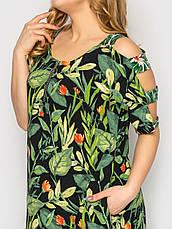 Сукня для повних дівчат на літо чорна з квітами, фото 3