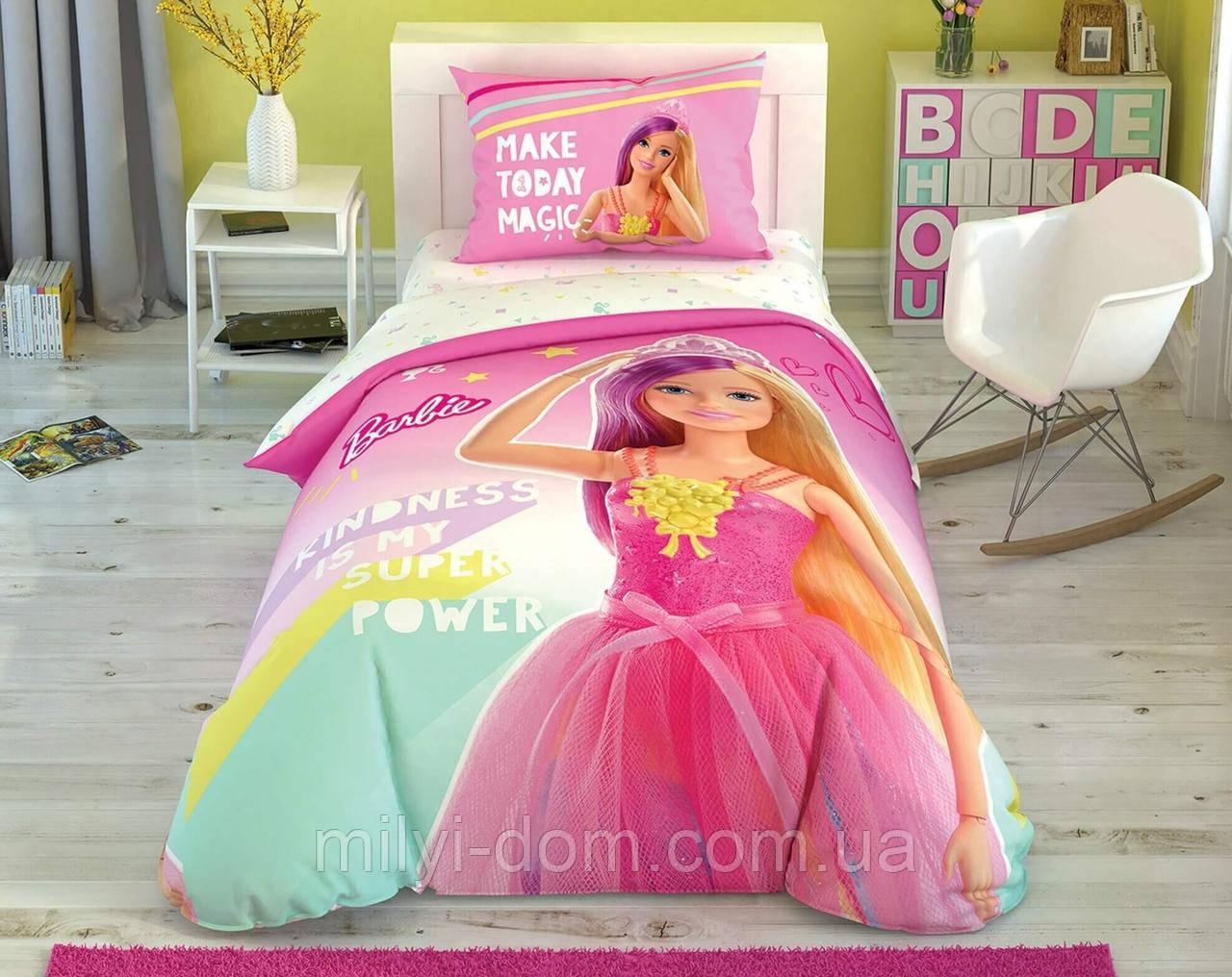 """Набор детского светящегося постельного белья TAC Barbie Kindness """"Барби доброта"""", прост. на резинке"""