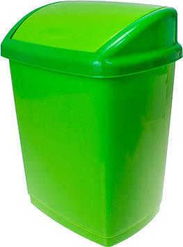 Відро 16л для сміття з кришкою салатове №GR-02037/Горизонт/