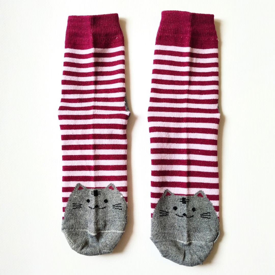 Шкарпетки жіночі в червону смужку мордочки котика на п'ятах і шкарпетках розмір 37-41