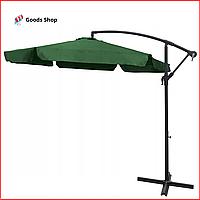 Садовый раскладной зонт с наклоном на боковой стойке Большой угловой зонт зеленый для сада и дачи 3.5м Kontras