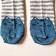 Шкарпетки жіночі в сіру смужку мордочки котика на п'ятах і шкарпетках розмір 37-41, фото 4