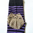 Носки женские в синюю полоску мордочки котика на пятках и носках размер 37-41, фото 5