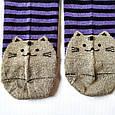 Носки женские в синюю полоску мордочки котика на пятках и носках размер 37-41, фото 2