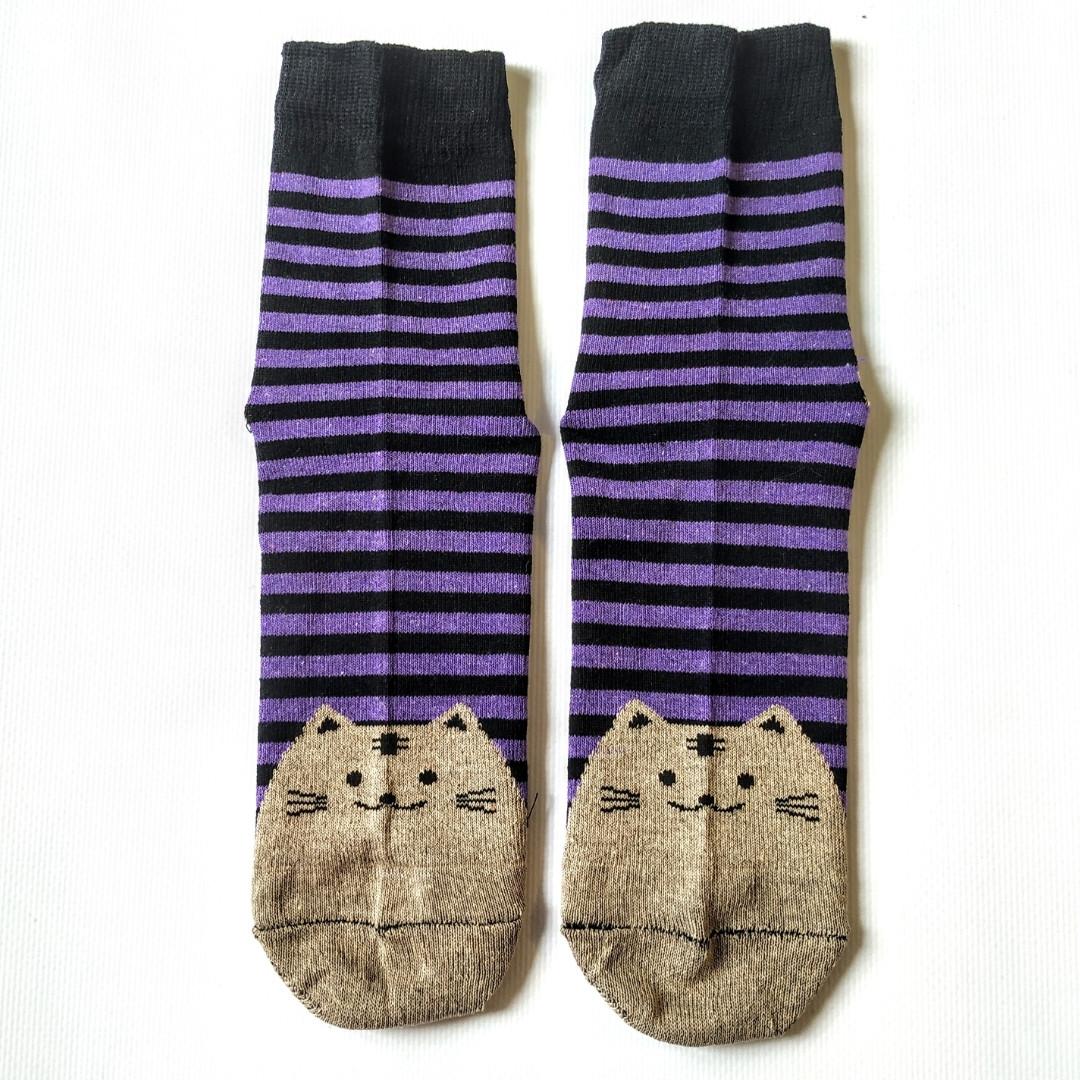 Носки женские в синюю полоску мордочки котика на пятках и носках размер 37-41