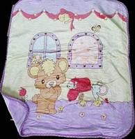 Детский плед из флиса Мишка под окном, сиреневый, 100*110 , двусторонний