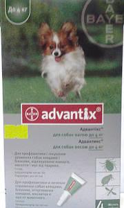 АДВАНТИКС для собак весом до 4кг(1упаковка. 4 пипетки)