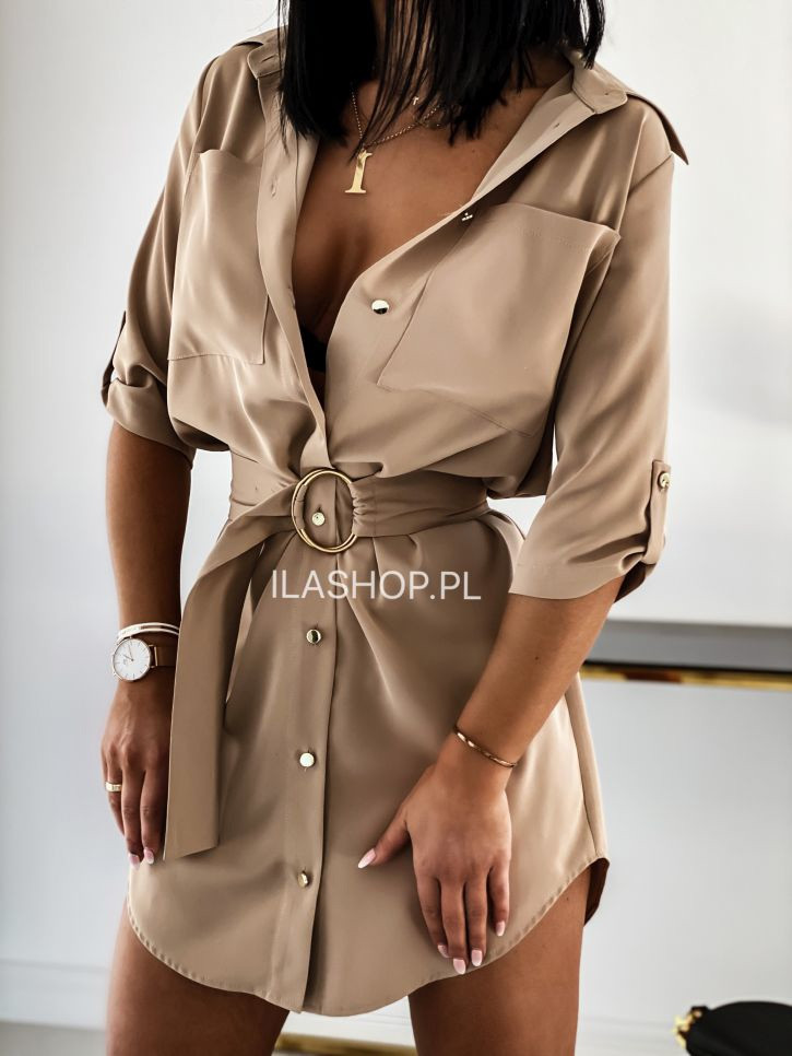 Женское платье - рубашка, супер - софт, р-р 42; 44-46 (бежевый)