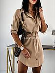 Женское платье - рубашка, супер - софт, р-р 42; 44-46 (бежевый), фото 4
