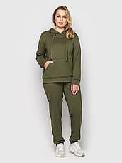 Спортивний костюм жіночий батал оливкового кольору, фото 2