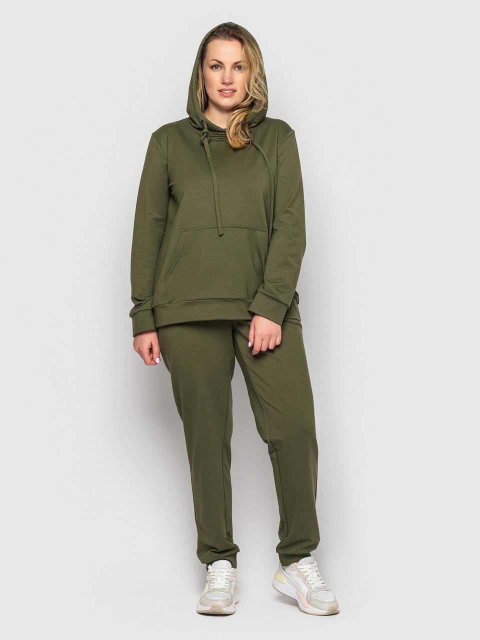 Спортивний костюм жіночий батал оливкового кольору