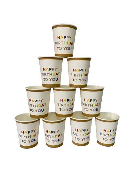 "Паперові стаканчики  ""Happy Birthday to you"" білі 10шт."