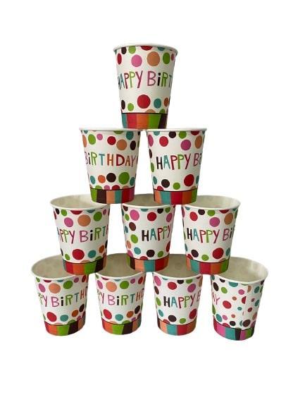 """Паперові стаканчики """"Happy Birthday"""" білі в горошок 10шт."""