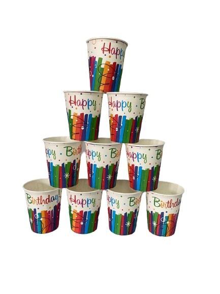 """Паперові стаканчики """"Happy Birthday"""" різнокольорові 10шт."""