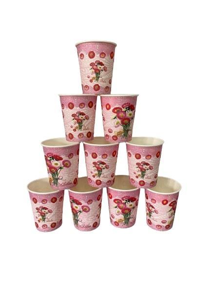 Паперові стаканчики з квітами 10шт.