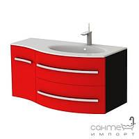 Мебель для ванных комнат и зеркала Botticelli Тумба с раковиной Botticelli Vanessa Vndr-110, правая (фасад - чёрный глянец, корпус - чёрный глянец)