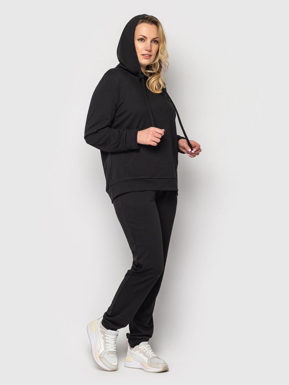 Женский батальный спортивный костюм черный