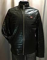 Мужская черная куртка из экокожи на весну размер 50