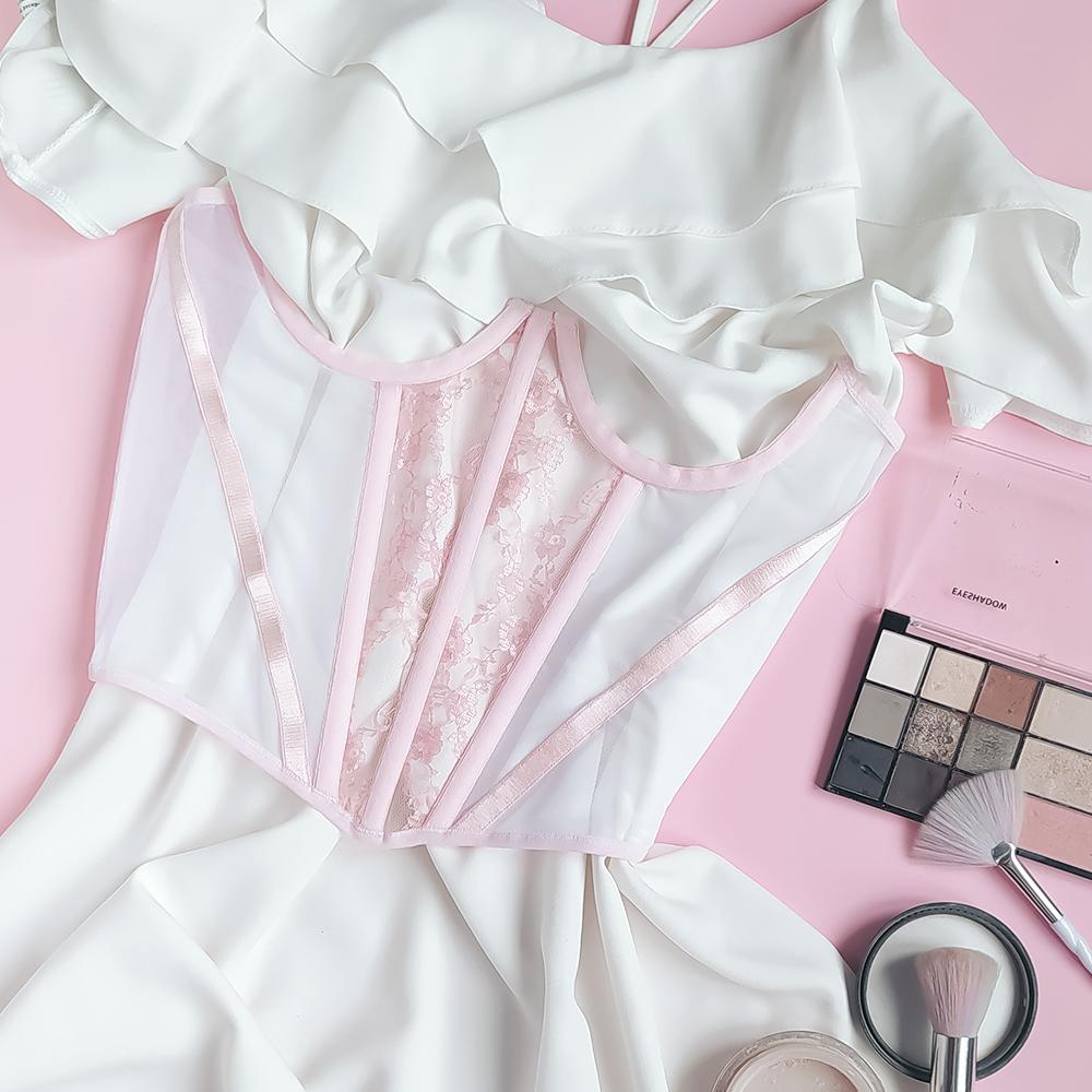 Корсет декоративный бело-розовый