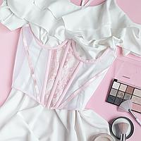 Корсет декоративный бело-розовый, фото 1