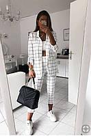 Женский костюм,брюки и пиджак,ткань-габардин, в принт,штаны укорочены(42-46)