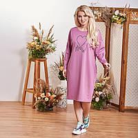 Женское платье,материал:Итальянский трикотаж, с длинным рукавом однотонное с принтом(2хл-6хл), фото 1