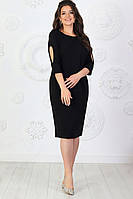 Жіноче базове сукня чорне, з вирізом на рукавах,довжина міді (48-58), фото 1