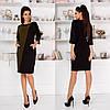 Сукня жіноча стильний, тканина креп-дайвінг,двокольорове вільне плаття(42-58)