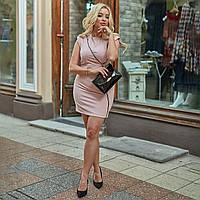 Женское платье стильное,ткань-Креп,однотонное с декором(с-4хл), фото 1