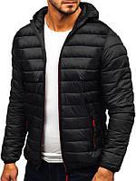 Демисезонная куртка с капюшоном, стильная стеганая, мужская курточка черная