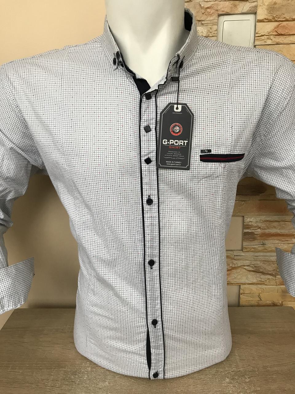Батальная рубашка стрейч-коттон G-port -320