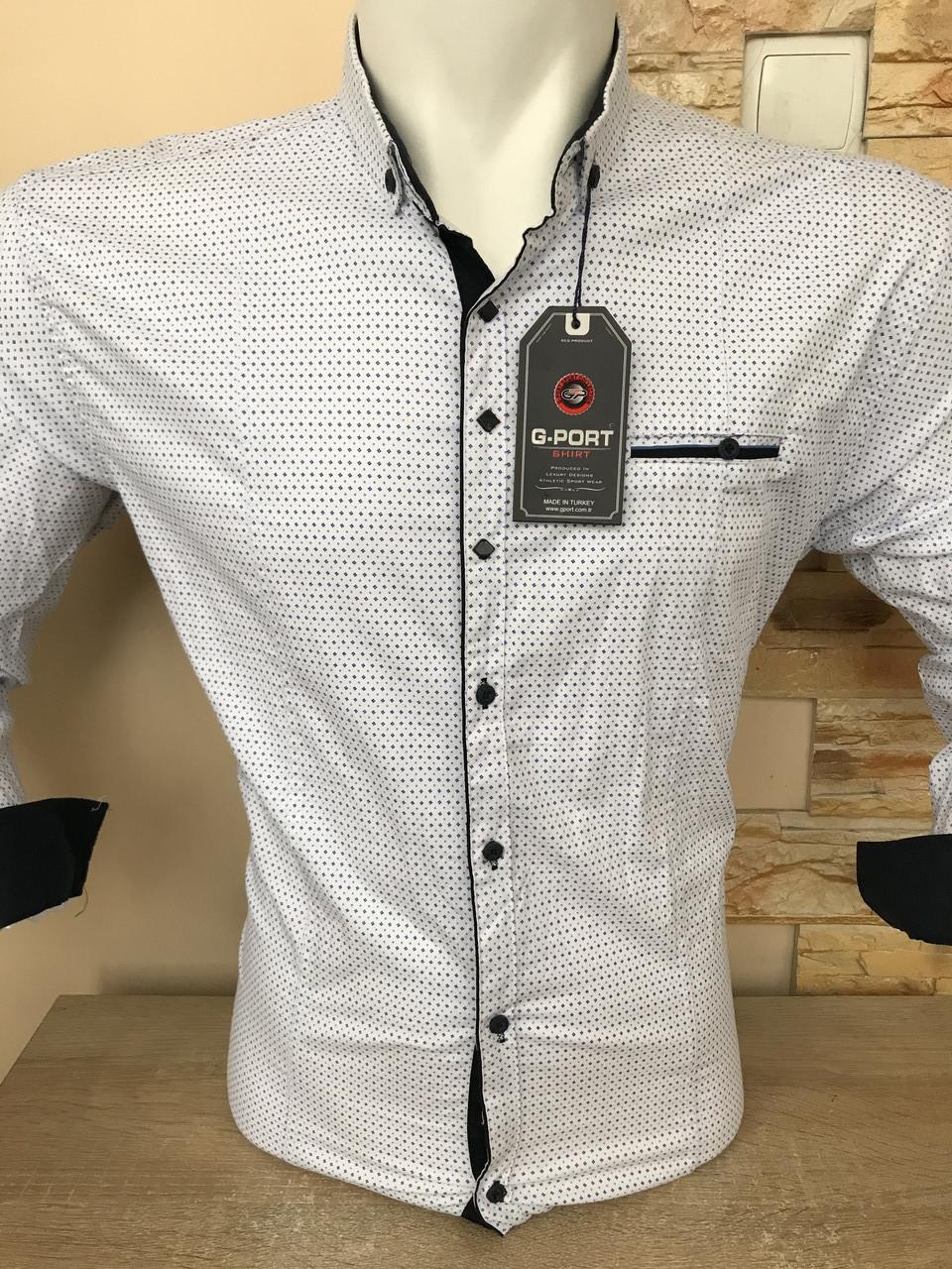 Батальная рубашка стрейч-коттон G-port -700