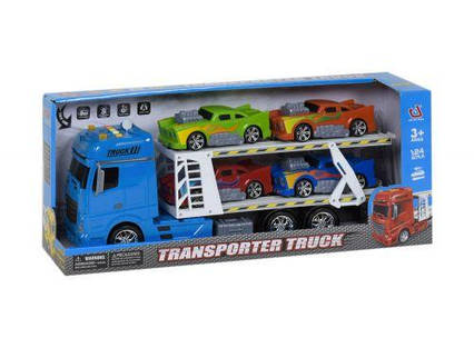 Трейлер с машинками (синий) 666-61F
