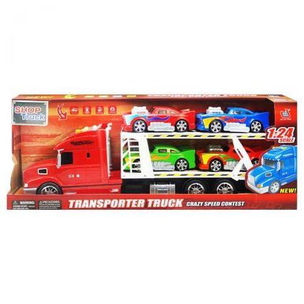 Трейлер - автовоз с машинками (красный) 666-61E