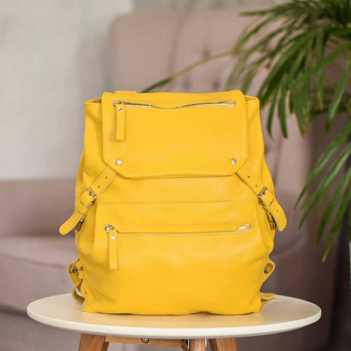 """Рюкзак женский кожаный городской """"Trip Yellow-shine"""". Цвет желтый"""