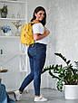 """Рюкзак жіночий шкіряний міський """"Trip Yellow-shine"""". Колір жовтий, фото 9"""