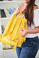 """Рюкзак жіночий шкіряний міський """"Trip Yellow-shine"""". Колір жовтий, фото 8"""