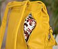 """Рюкзак жіночий шкіряний міський """"Trip Yellow-shine"""". Колір жовтий, фото 3"""