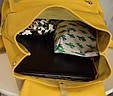 """Рюкзак жіночий шкіряний міський """"Trip Yellow-shine"""". Колір жовтий, фото 5"""