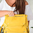 """Рюкзак женский кожаный городской """"Trip Yellow-shine"""". Цвет желтый, фото 10"""