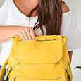 """Рюкзак жіночий шкіряний міський """"Trip Yellow-shine"""". Колір жовтий, фото 10"""