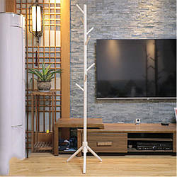 Вешалка стойка для одежды напольная деревянная цвет белый, высота 175 см