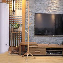 Вешалка стойка для одежды напольная деревянная цвет светлое дерево, высота 175 см
