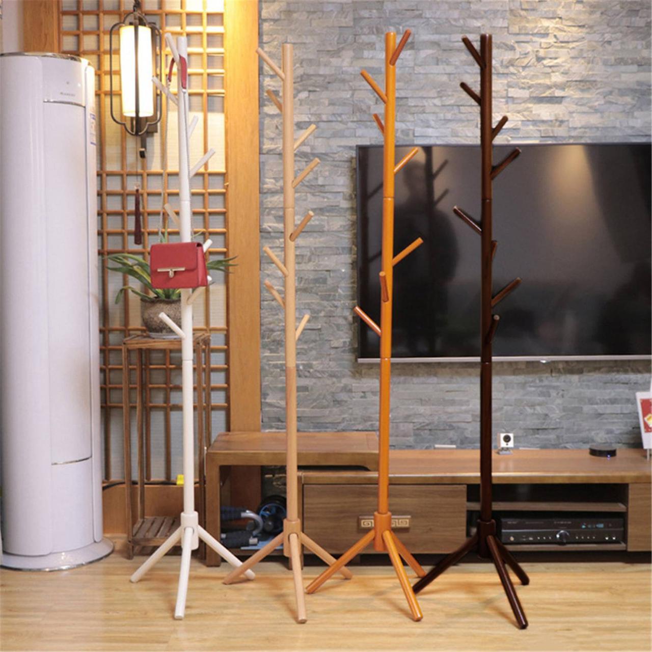 Вішалка стійка для одягу підлогова дерев'яна колір темно коричневий, висота 175 см