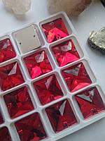 Стрази пришивні Квадрат 16 мм Siam (червоний), скло