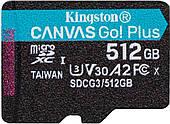 Карта пам'яті Kingston microSDXC Canvas Go! Plus 512GB Class 10 UHS-I V30 A2 W-90MB/s R-170MB/s