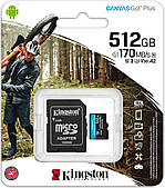 Карта пам'яті Kingston microSDXC Canvas Go! Plus 512GB Class 10 V30 A2 +SD адаптер